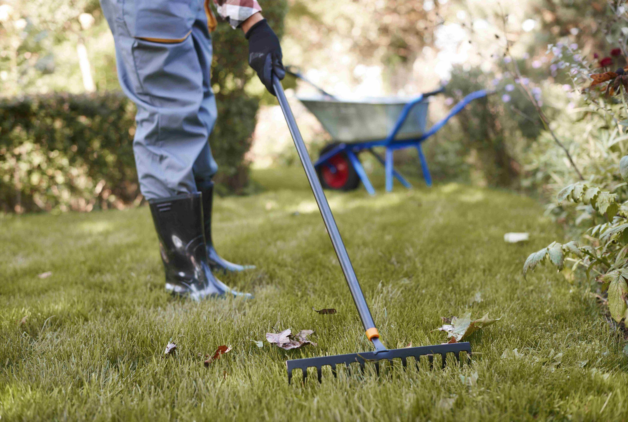 Professionelle Wartungswerkzeuge hinter dem Garten